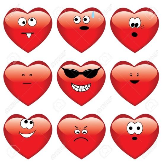 corazones6251329-Conjunto-de-nueve-de-dibujos-animados-de-corazones--Foto-de-archivo