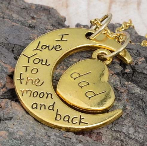 papas2015-Vintage-Gold-Silver-DAD-Pendant-I-Love-You-To-The-Moon-And-Back-Valentine-s