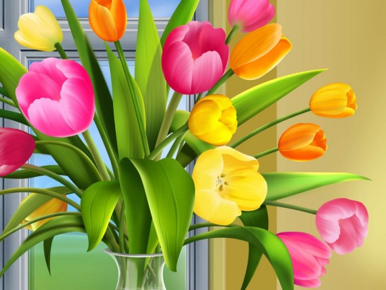 floreswers-tulips-colorful-leaves