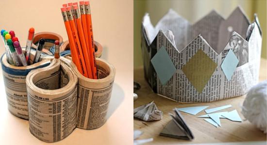papelLapicero-y-corona-con-papel-de-periodico-reciclado
