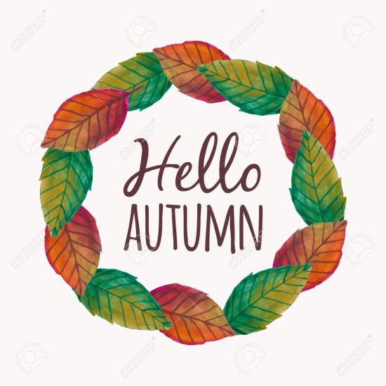 "Vector illustration with autumn leaves frame and typography text ""Hello Autumn"""