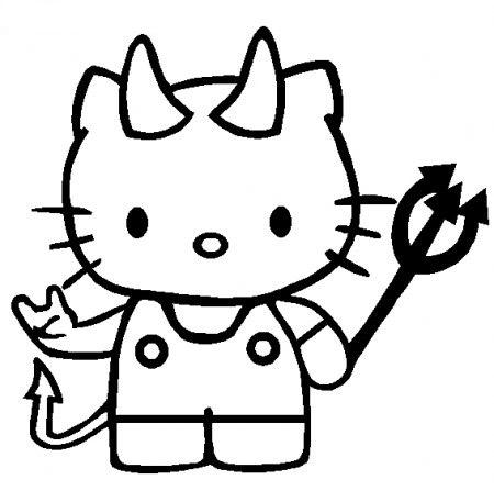 Dibujos-para-colorear-Hello-Kitty-Halloween-Diablita