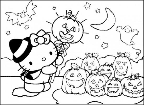 Dibujos-para-colorear-Hello-Kitty-Halloween-huerto-de-calabazas-675x495