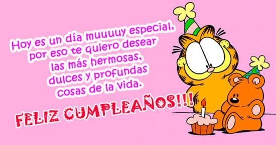 Imagen de Garfield con osito de cumpleaños http://fechaespecial.com