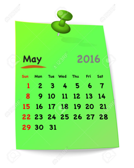 Calendar for may 2016 on green sticky note attached with green pin. Sundays first. Vector illustration