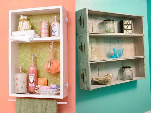 decorar-baño-estanterias-reciclando-cajones