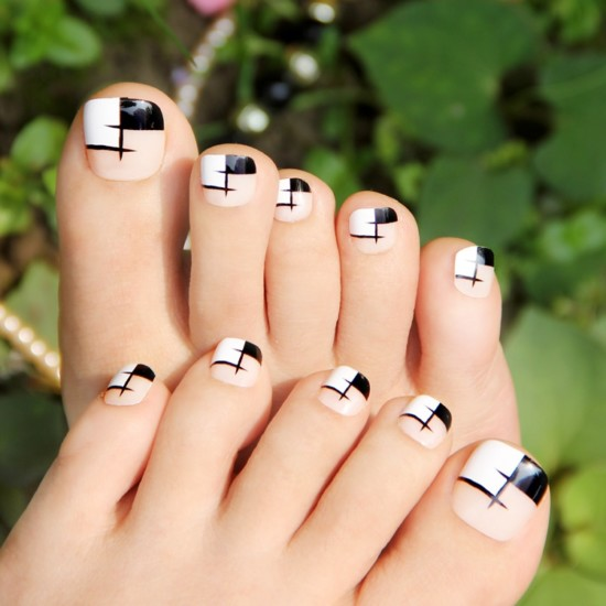 Elegante-negro-blanco-rejilla-falso-toe-nail-art-display-dedo-del-arte-del-clavo-inclina-la