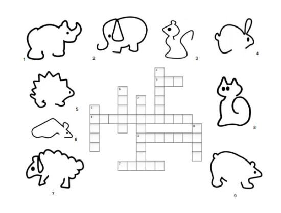 crucigrama animales niños