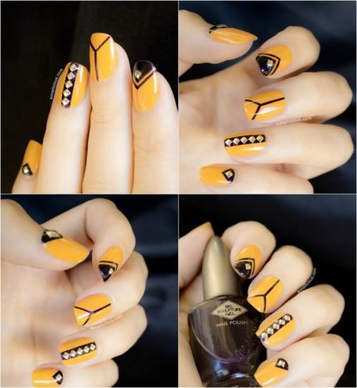 decoracion-de-unas-tendencias-2016-amarillo-negro-cristales
