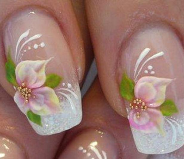 feminine-flower-french-nail-art-ideas