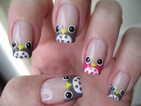 nail-art-french-manicure-owls-easy
