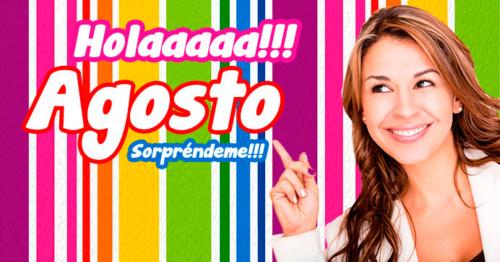 Imagen de mujer y fondo de colores para Agosto http://fechaespecial.com/
