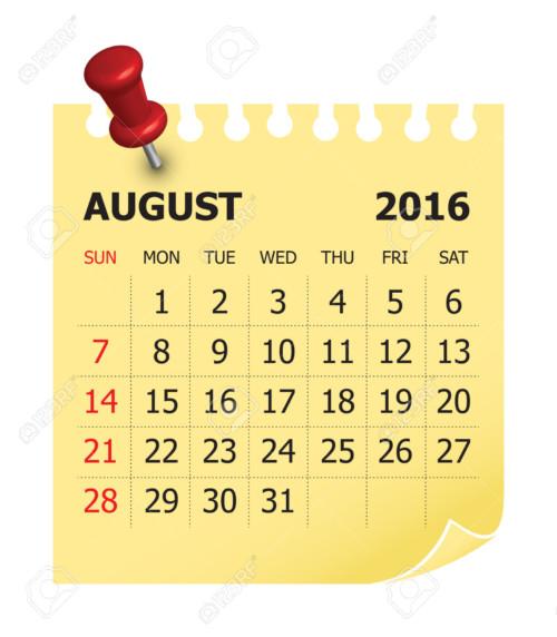 Simple calendar for August 2016