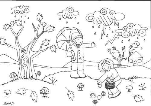 Imágenes para el Otoño con Dibujos para Imprimir y Colorear