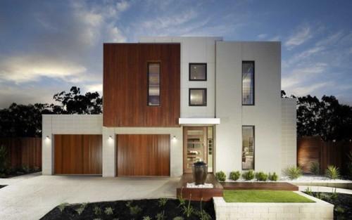 fachada de casa moderna con ventanas rectangulares y dos niveles - Fachadas Modernas De Casas