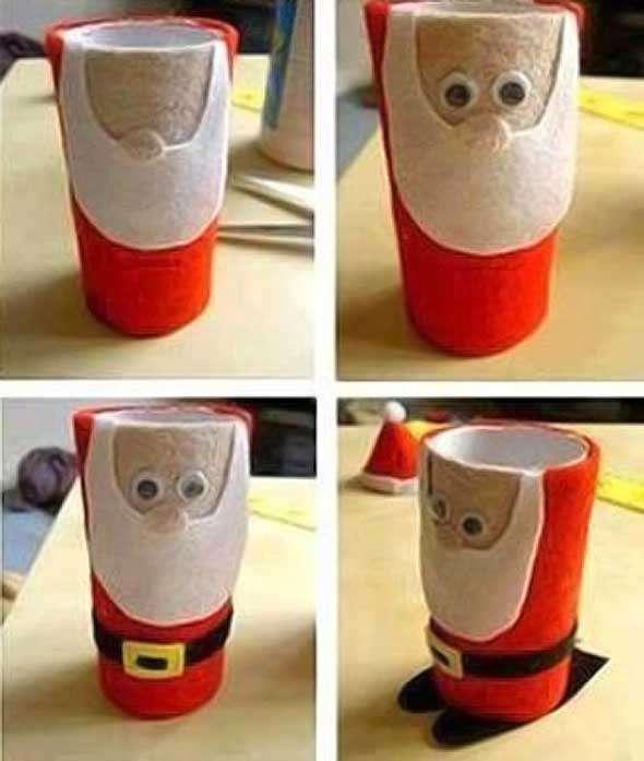 Adornos navidenos en tubos de papel higienico