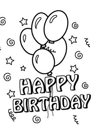 Carteles y tarjetas de feliz cumpleaños para colorear