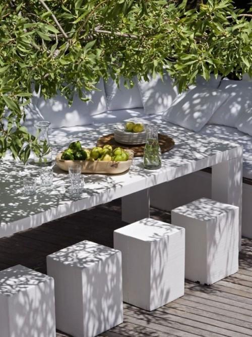 Muebles de cemento pulido 170 ideas nuevas en hormig n en - Mesas para exterior ...