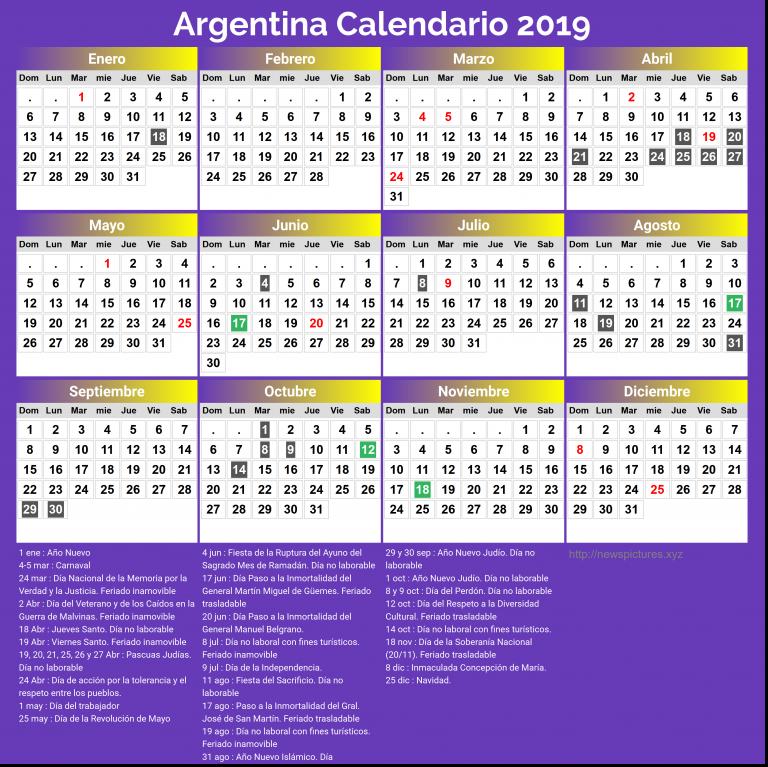 Calendario 2019 Chile Con Feriados Para Imprimir.28 Calendarios 2019 Imprimibles Para Descargar
