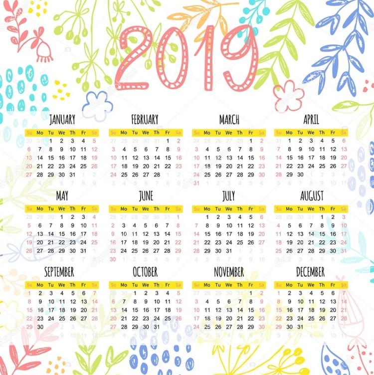 Calendario Colombia 2019 Para Imprimir.Calendarios 2019 En Imagenes Para Descargar E Imprimir